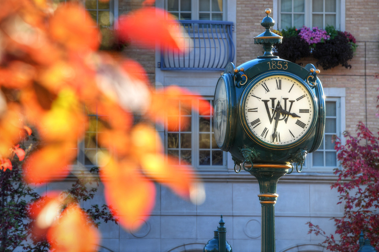 The Clocktower in the South 40 with fall foliage