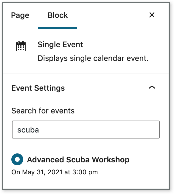 Screen capture shows the settings for a single event block