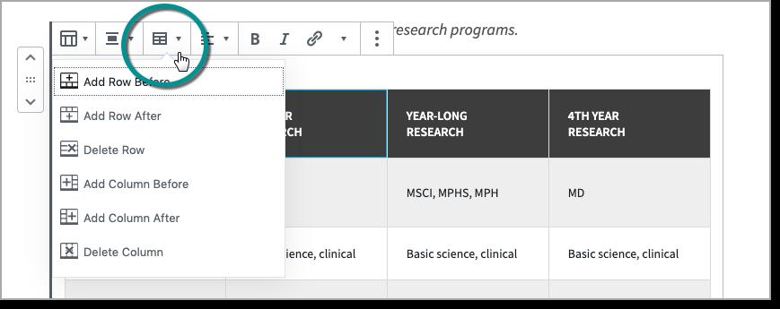 Screenshot showing edit table dropdown in table settings toolbar
