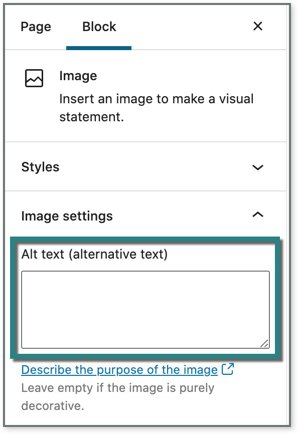 Screenshot showing the location of the alt text field
