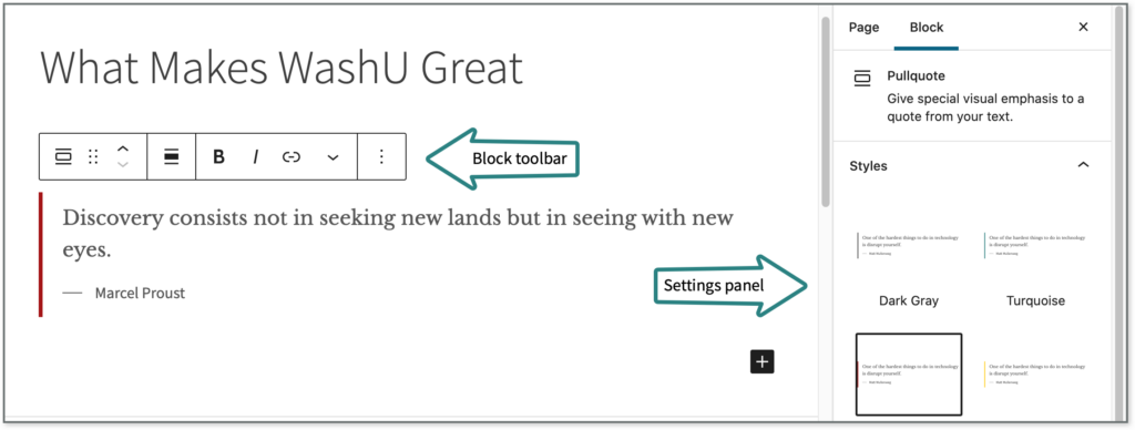 Screenshot shows where settings appear when you click on a block.